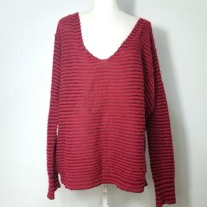 Free People Red Wool Linen Sheer Slouchy Sweater